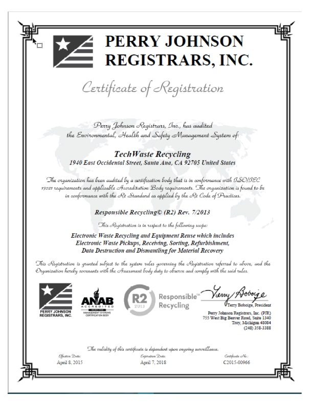 Certified Electronic Recycling R2, ISO 14001 & OHSAS 18001 ...